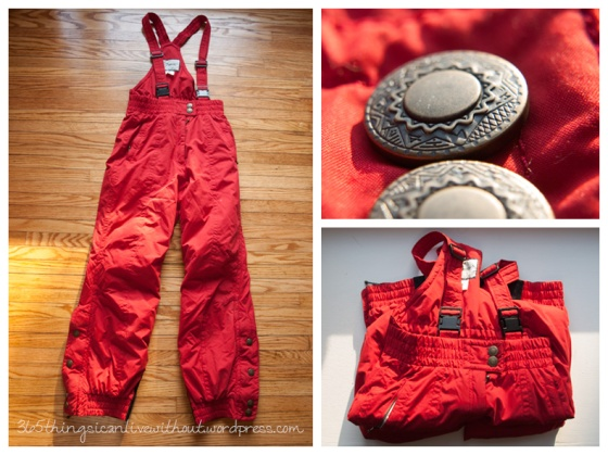 red snow pants